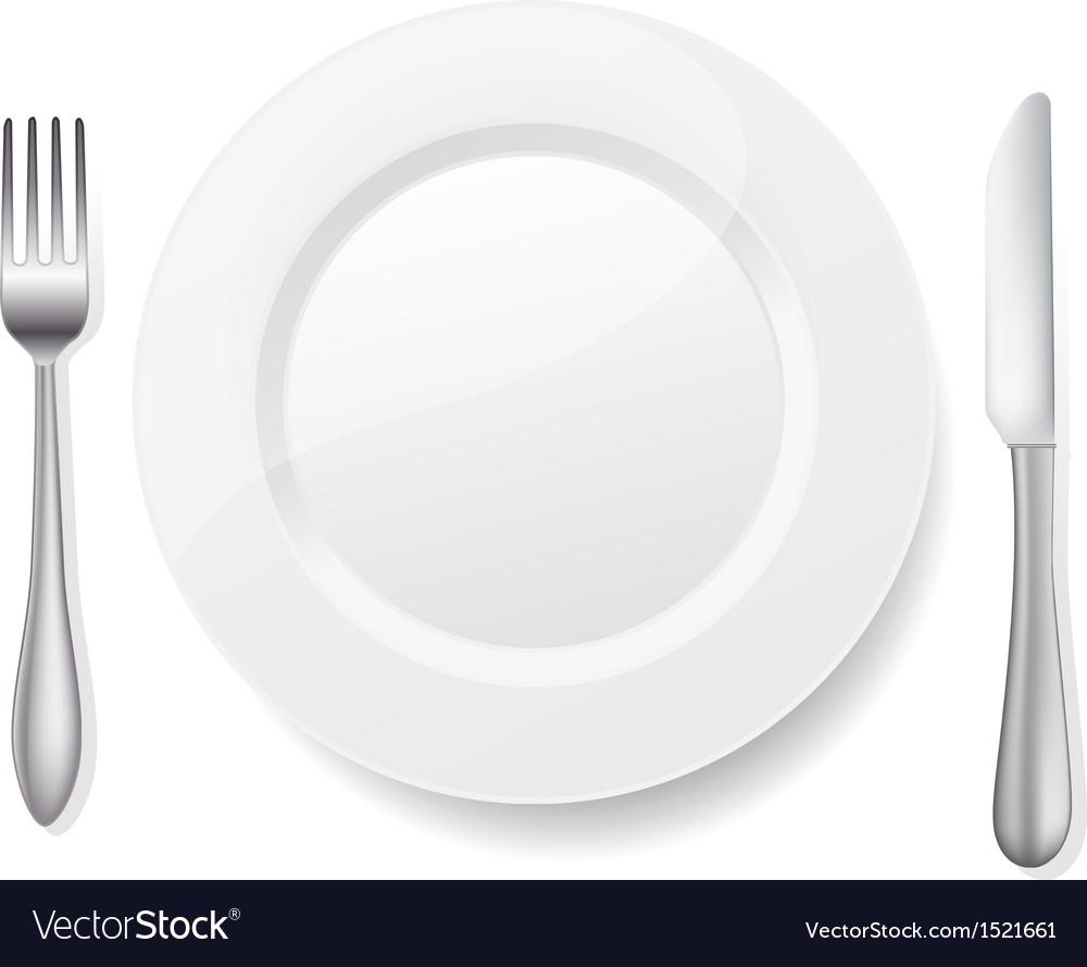 Knife fork white plate vector