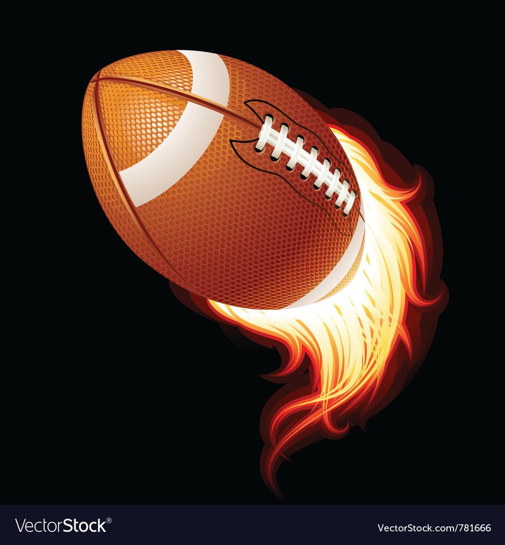 Flying flaming american football ball vector