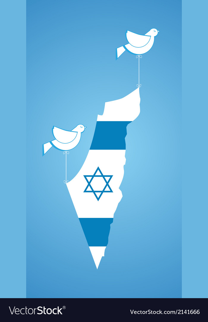 White dove holding map of israel vector