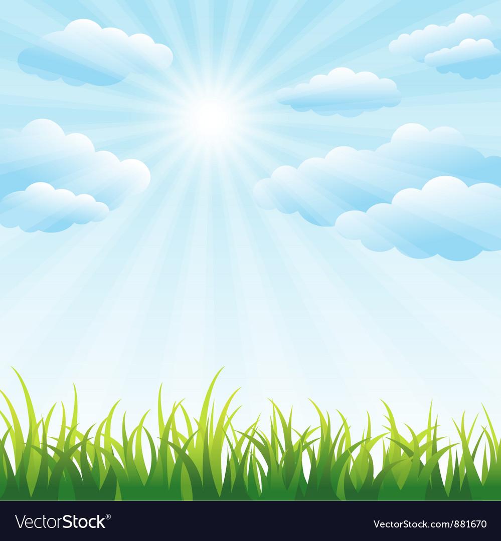 Green grass field and blue sky vector