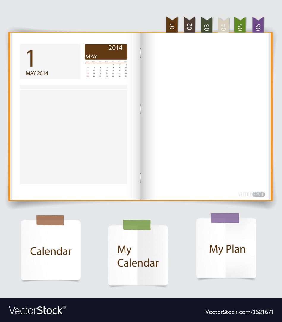 2014 calendar on notebook paper may vector