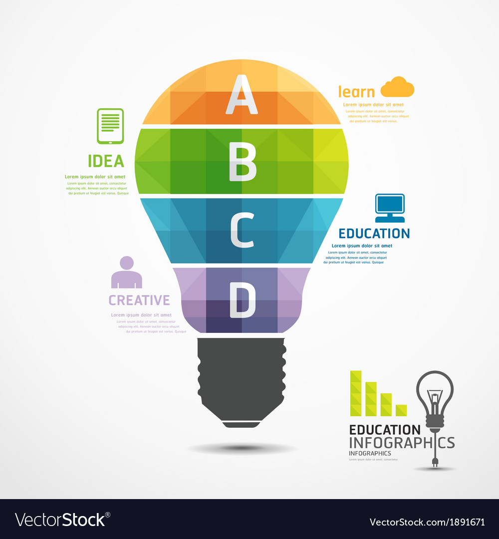 Infographic template geometric light bulbs banner vector