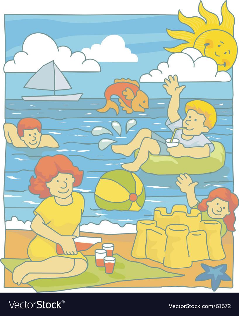 Family at beach vector