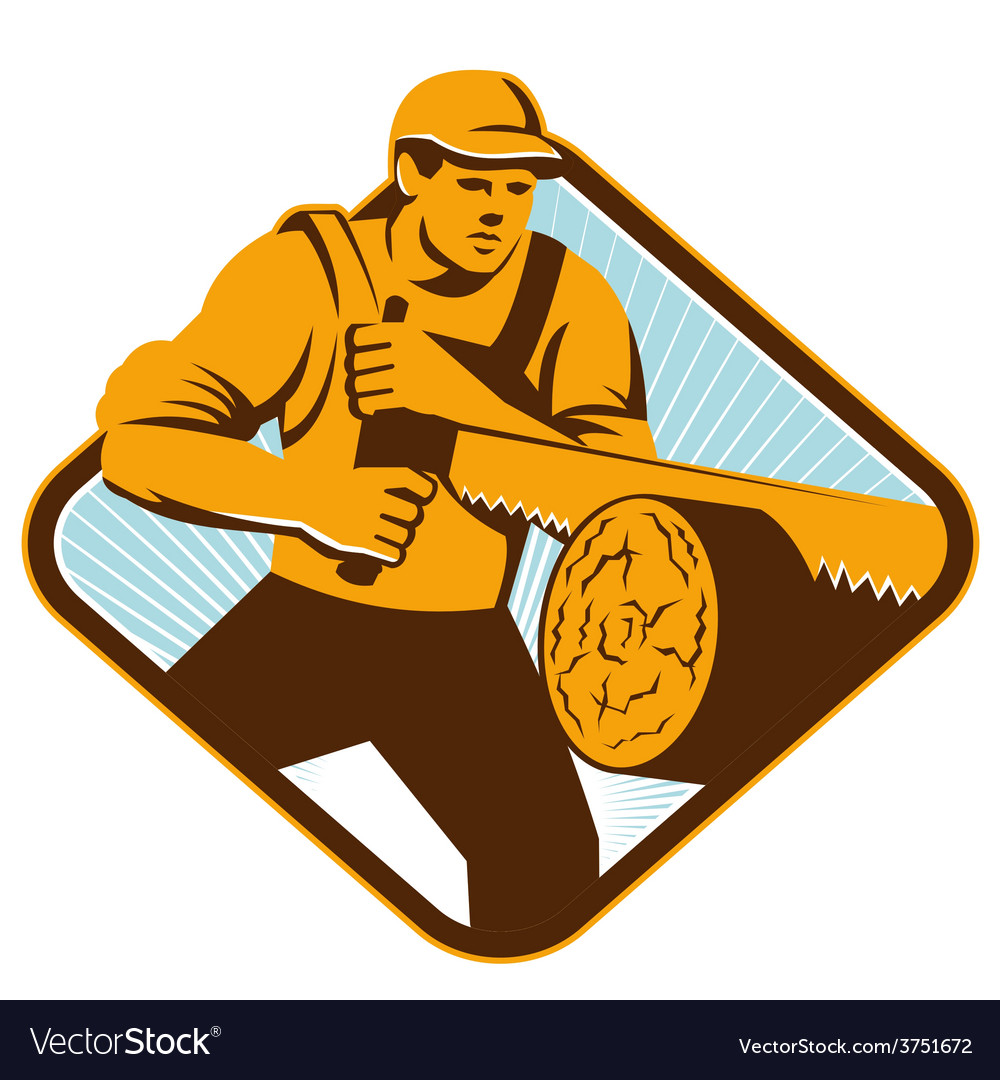 Lumberjack crosscut saw vector