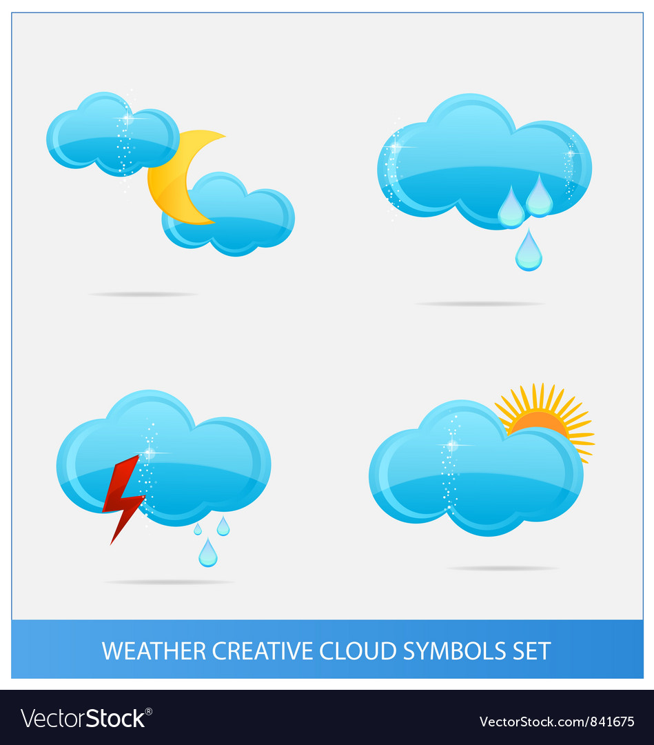 Weather blue clouds symbols set vector