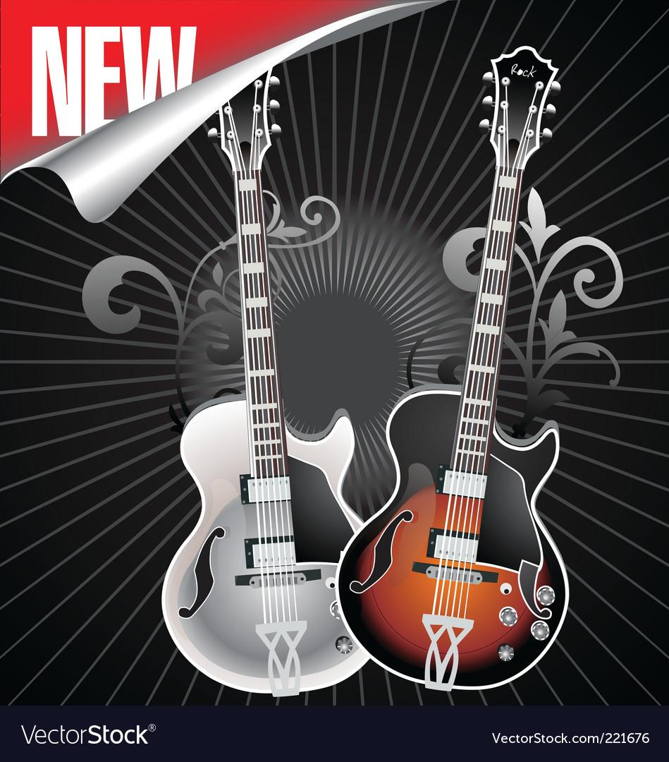 Vintage retro guitar vector