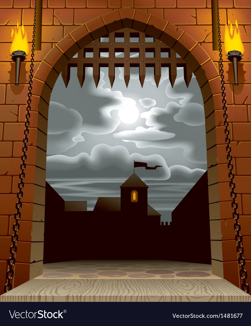 Castle gate vector
