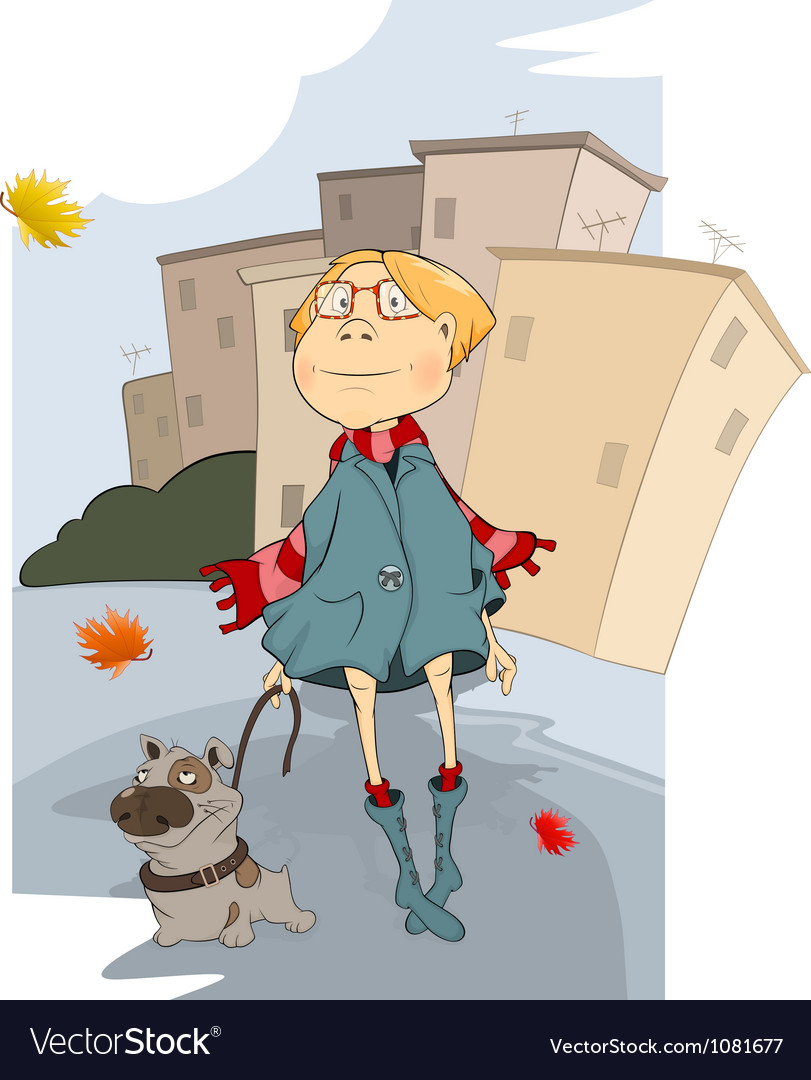 The girl and dog vector