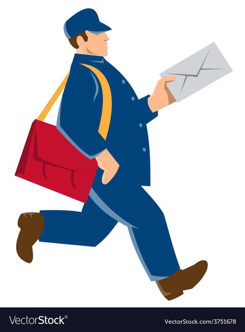 Mailman postal worker delivery man vector