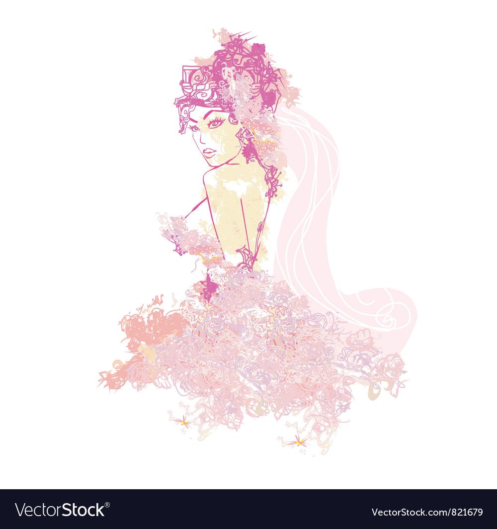 Beautiful abstract bride vector