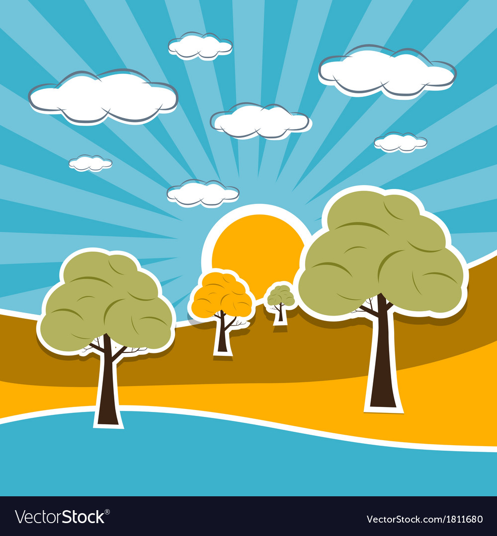 Nature scenery retro with clouds sun sky trees vector