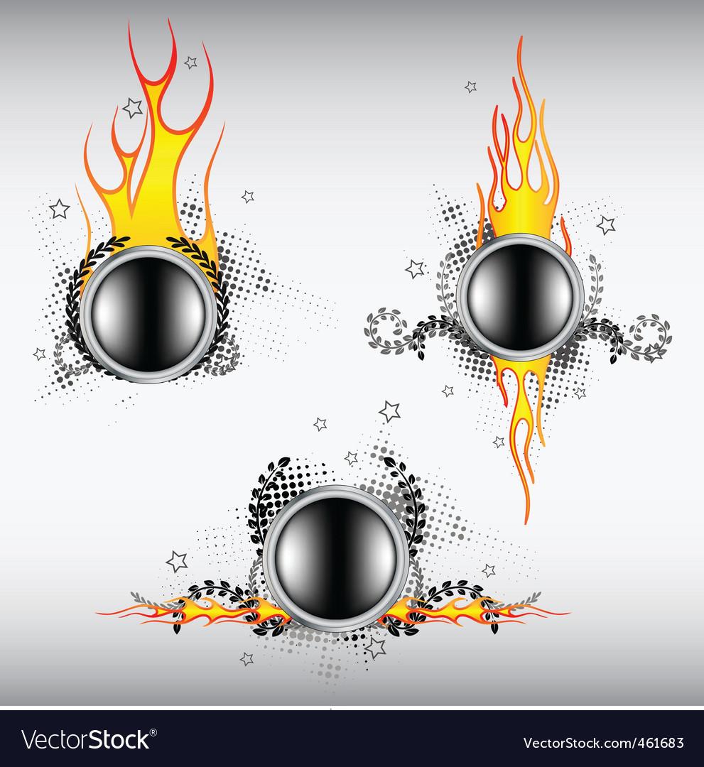 Fiery buttons vector