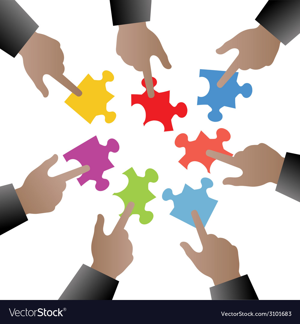 People hand with puzzle pieces vector