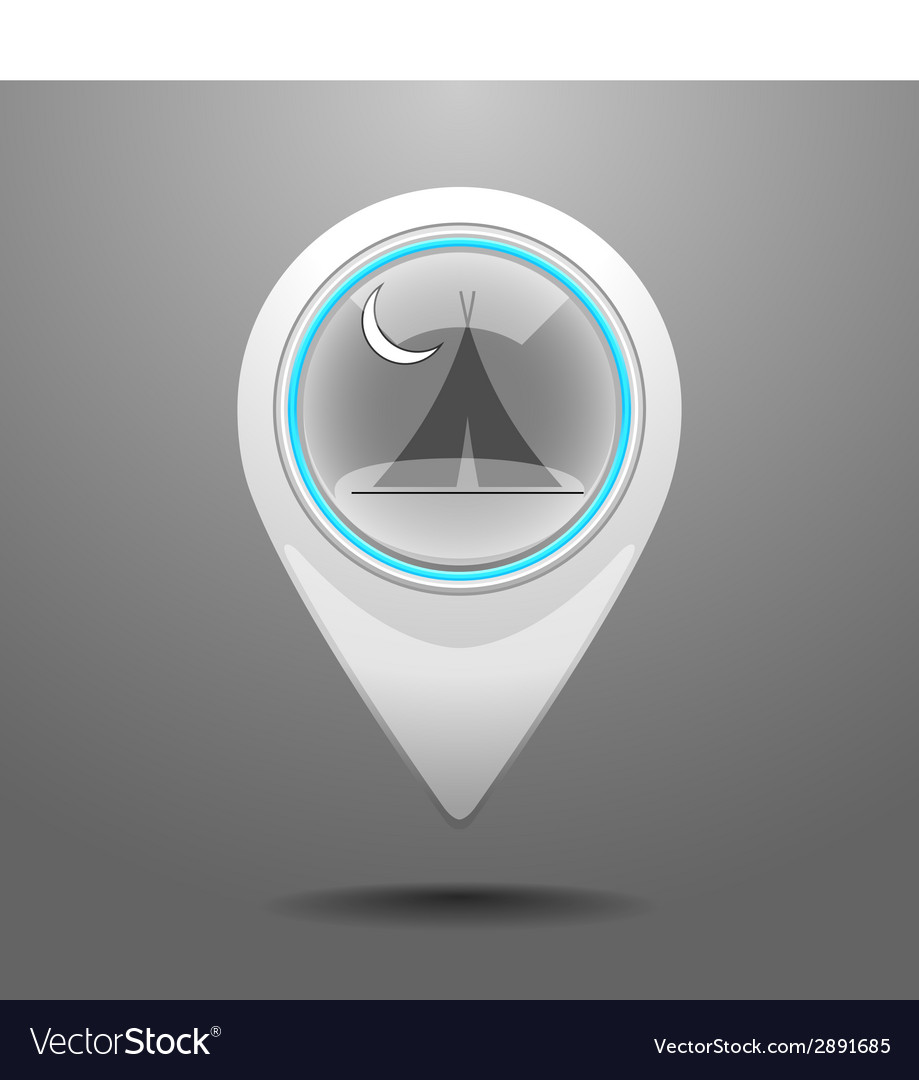 Glossy camp icon vector