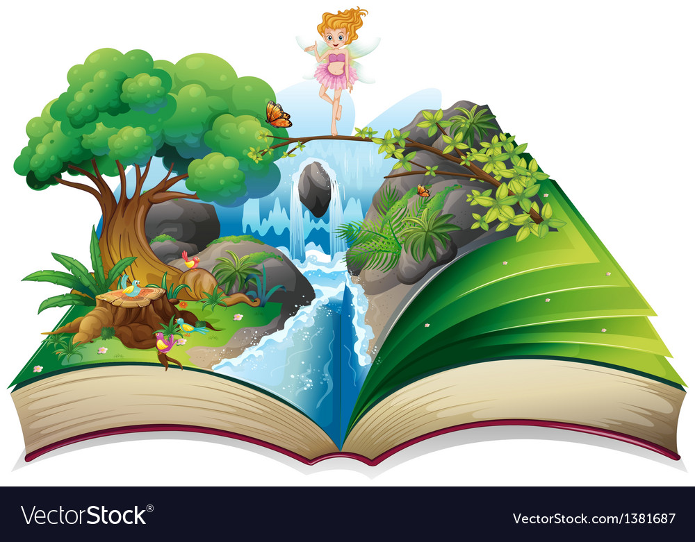 An open book with an image of a fairy land vector