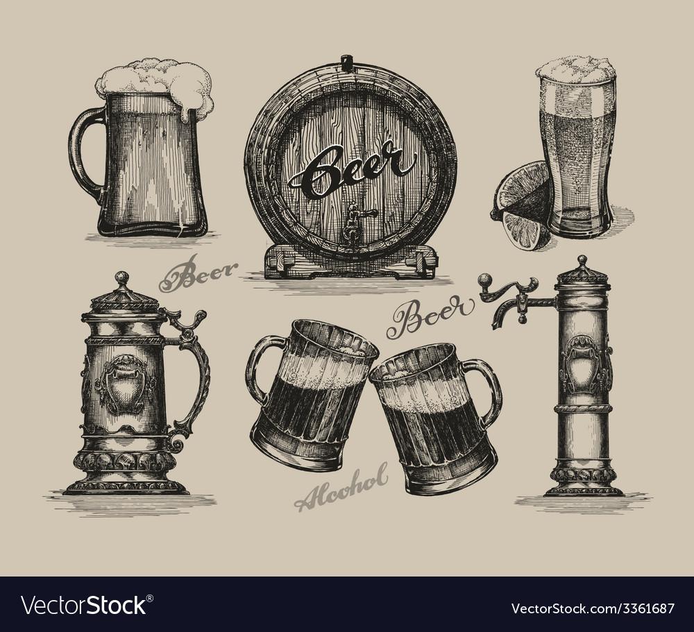 Beer set sketch elements for oktoberfest festival vector