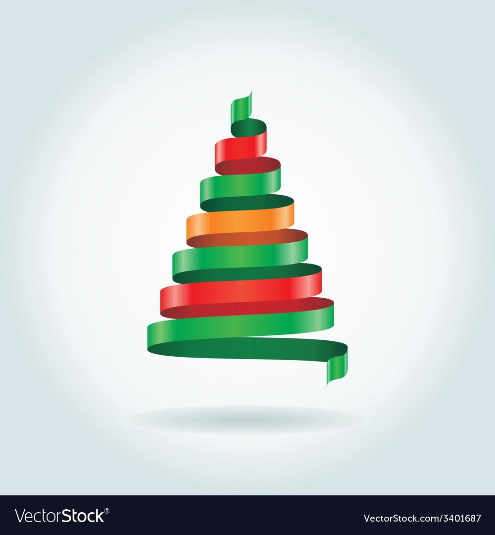 Christmas card with ribbon tree vector