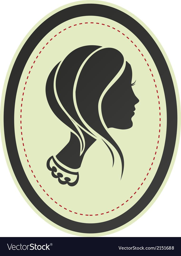 Lady cameo profile vector
