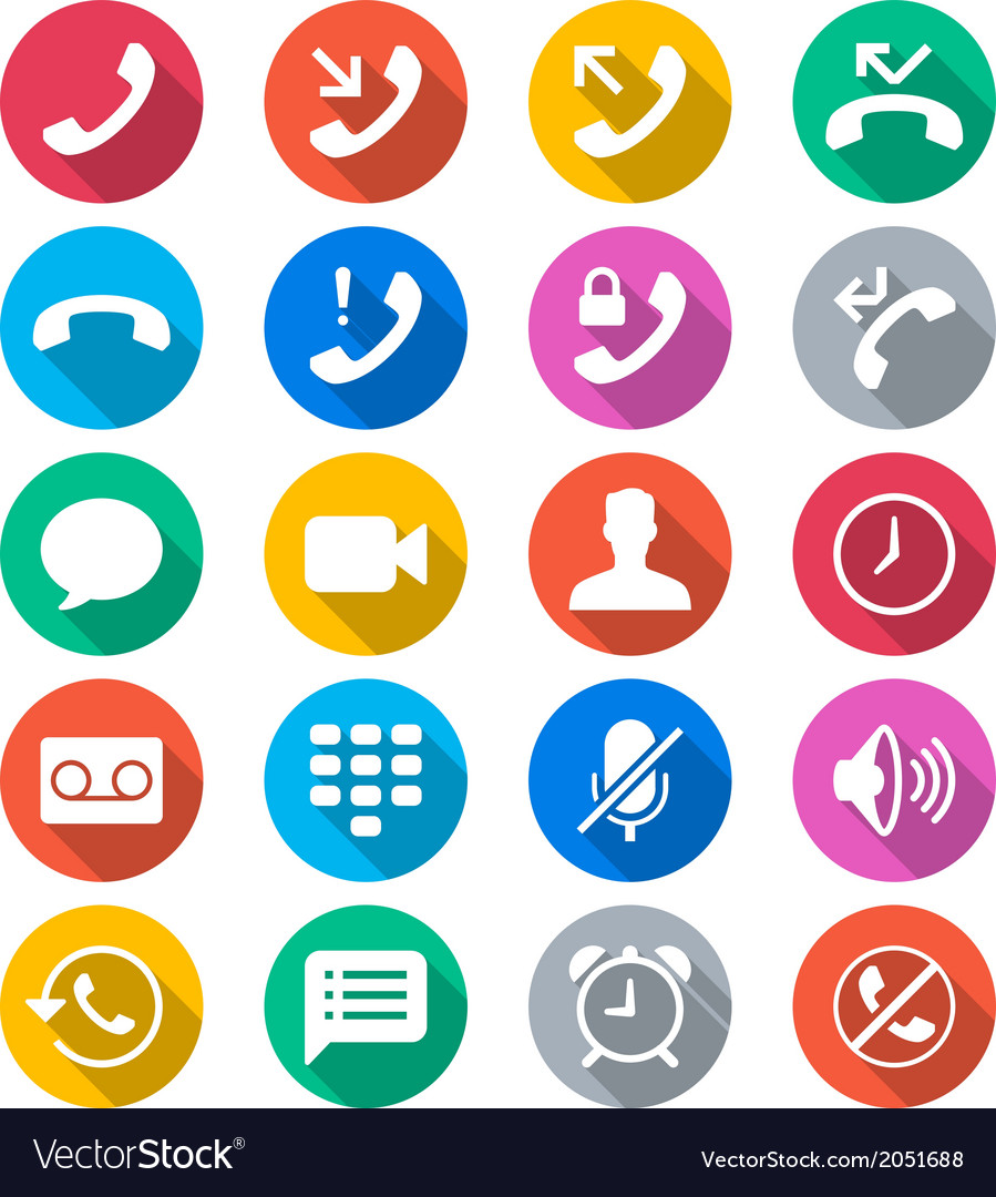 Telephone flat color icons vector