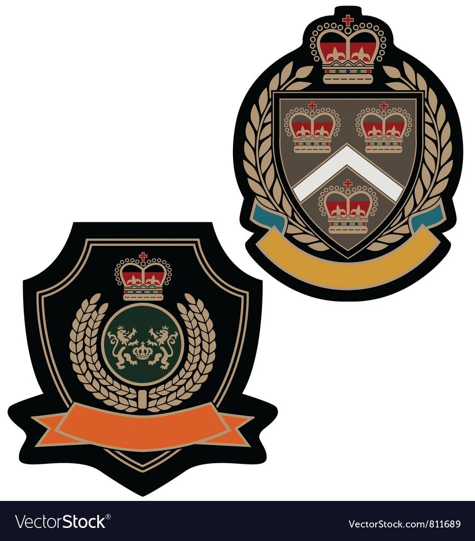 Badge royal emblem shield vector
