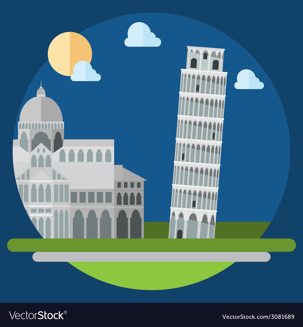 Flat design of piza square buildings vector