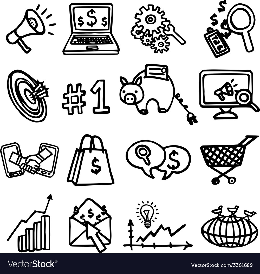 Seo internet marketing set vector