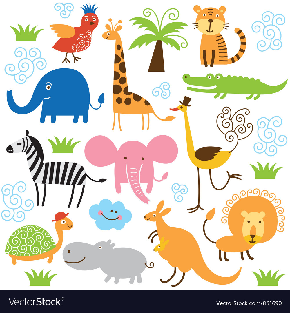 Set of cute tropical animals vector