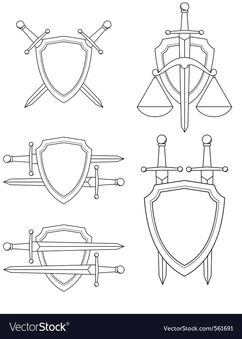 Shield sword vector