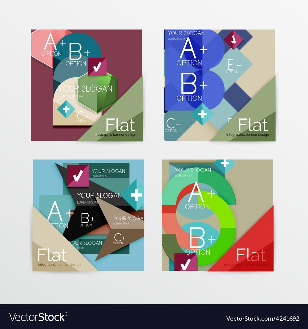 Flat design square shape infographic banner vector