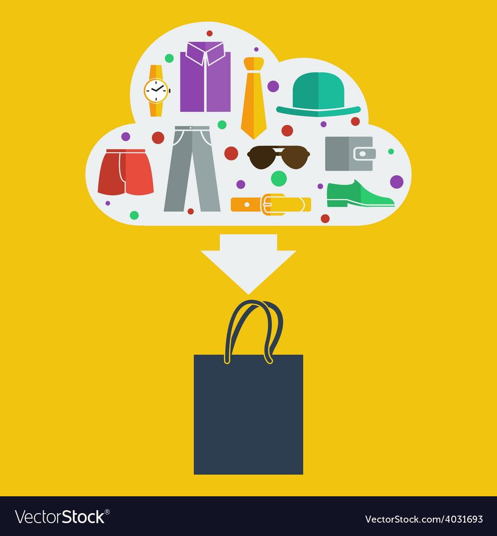 Shopping bag man vector
