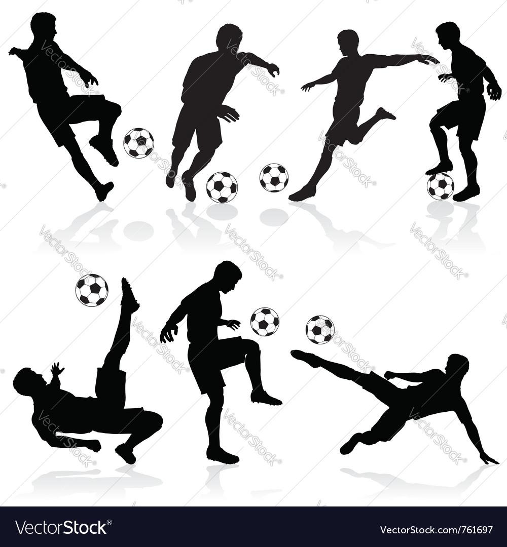 Soccer silhouette set vector