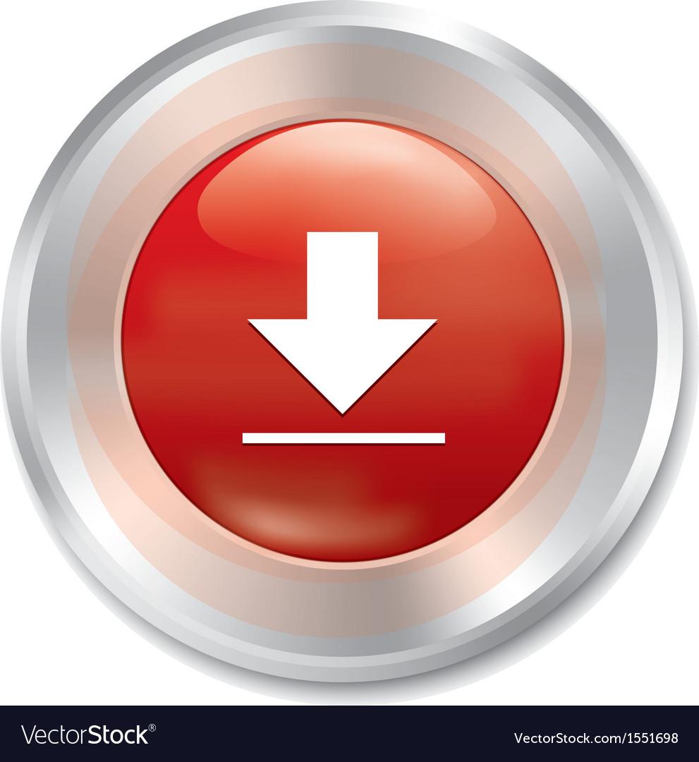 Download button red round sticker vector