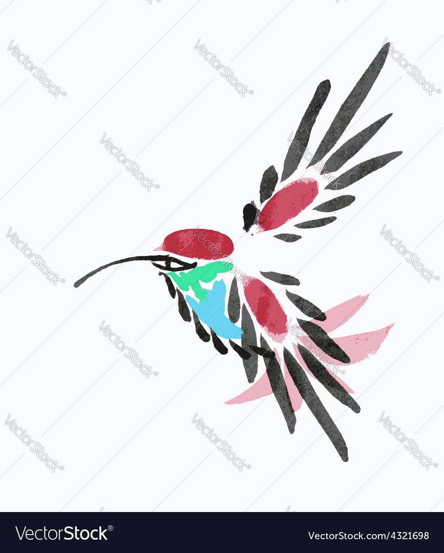 Watercolor blue hummingbird in flight vector