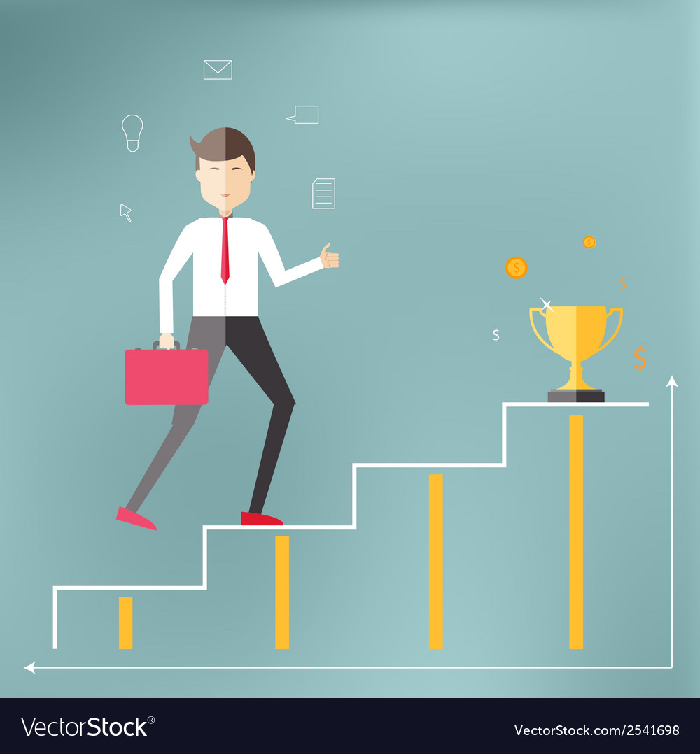 Young professional up the career ladder vector