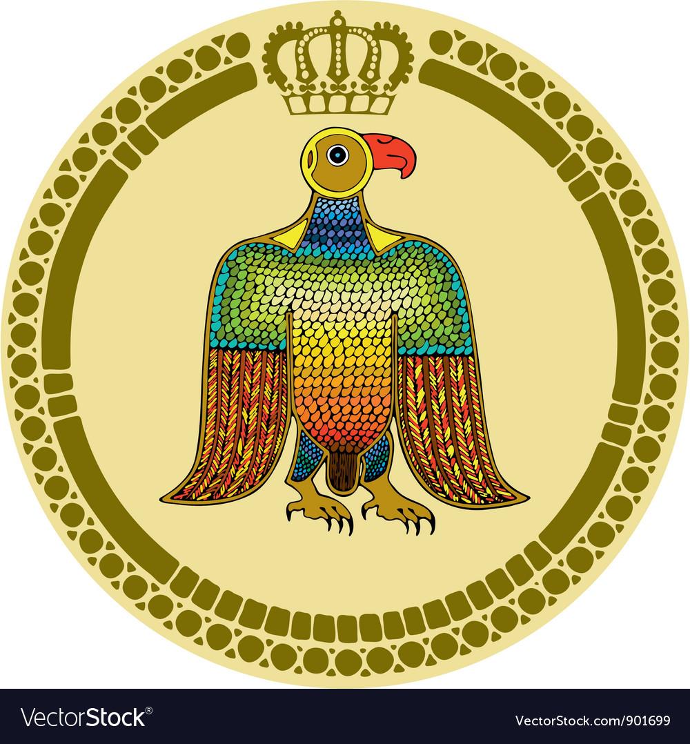 Eagle round emblem vector
