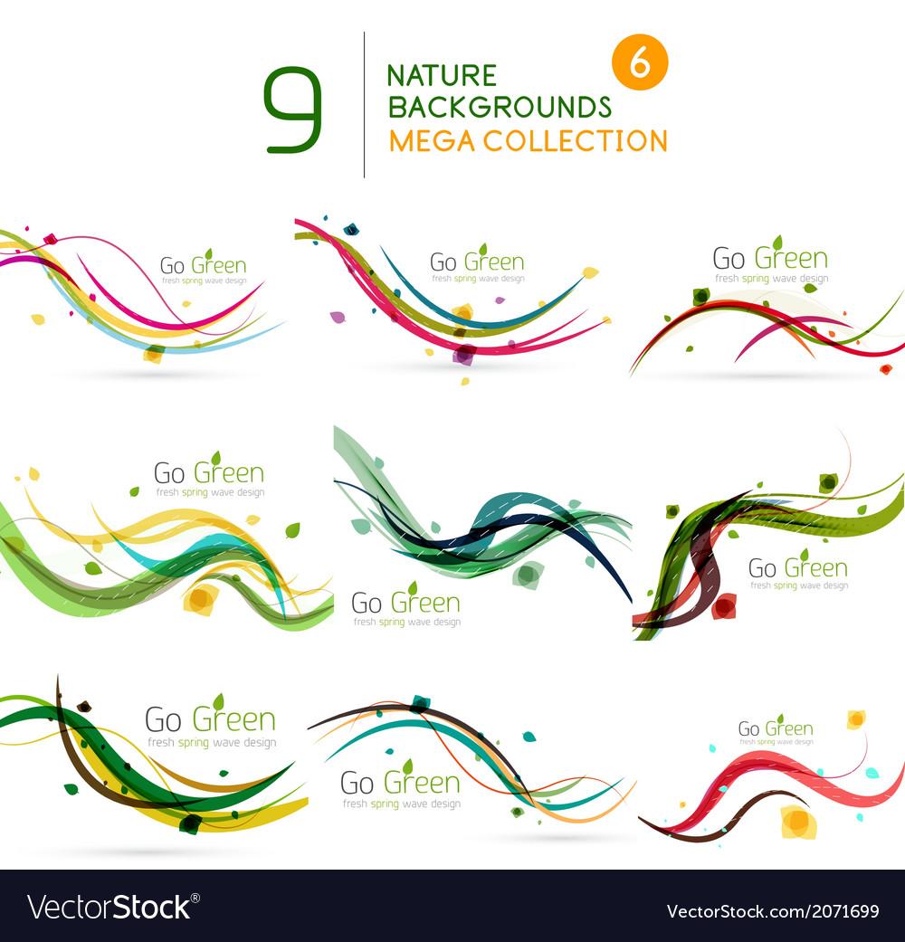 Spring  summer wave floral nature background set vector