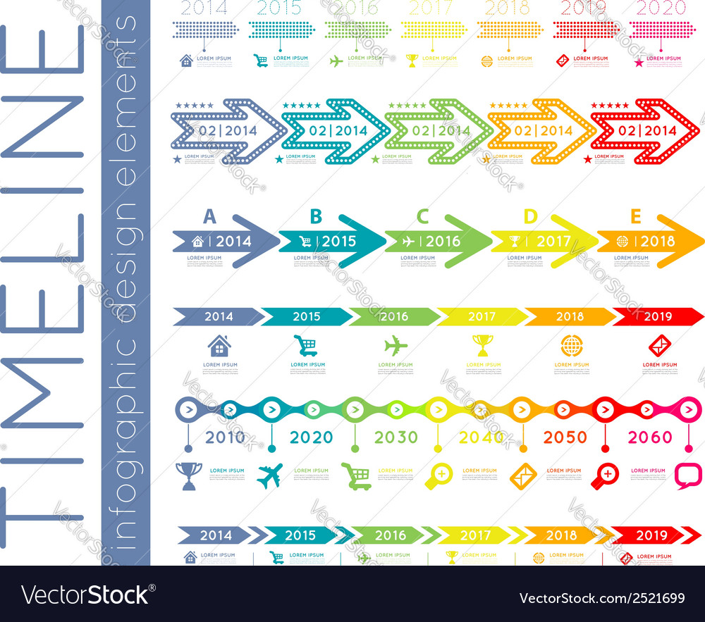 Timeline infographic set vector