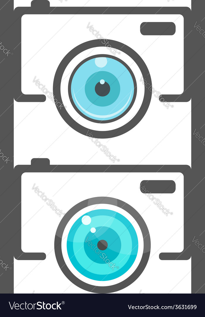 Two camera icons with flat lense vector
