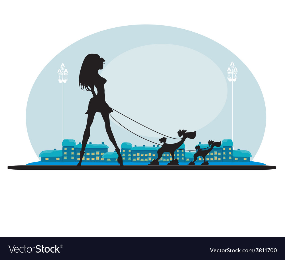 Pretty girl walking the dogs vector