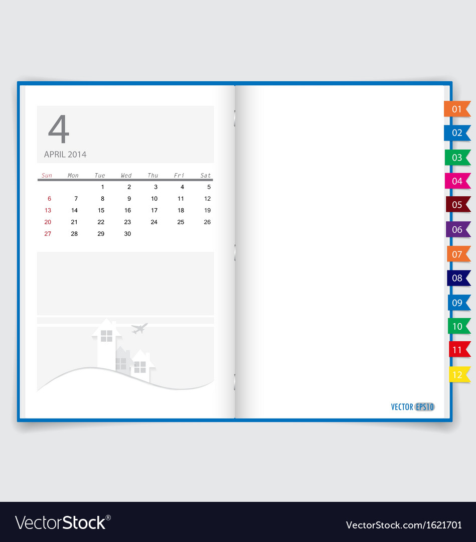 2014 calendar on notebook paper april vector