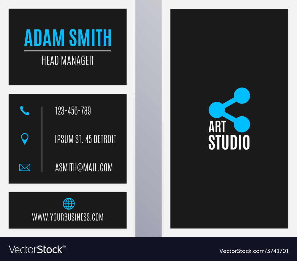 Business card template - vertical black and blue vector