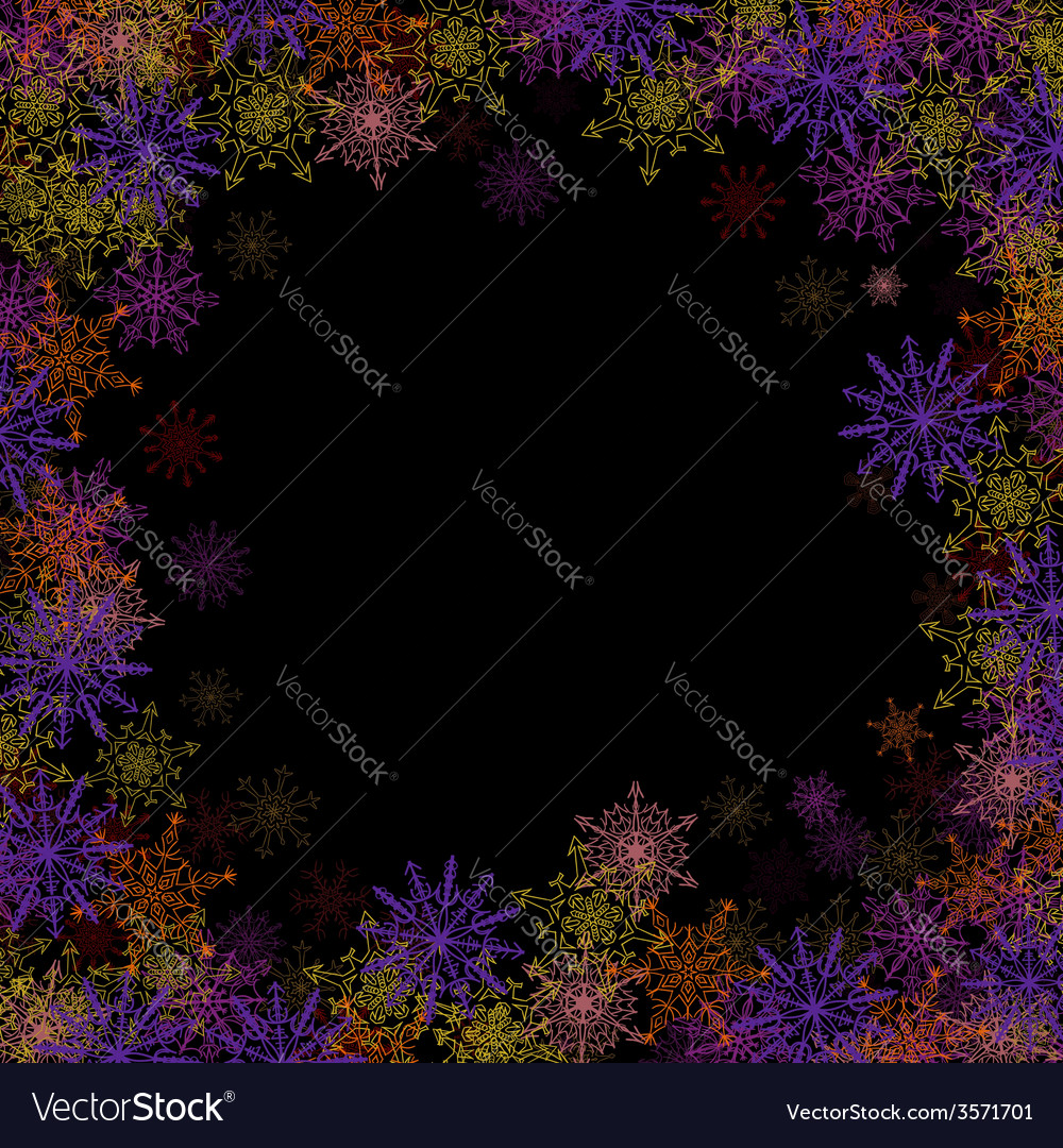 Rectangular frame with colorful small snowflakes vector