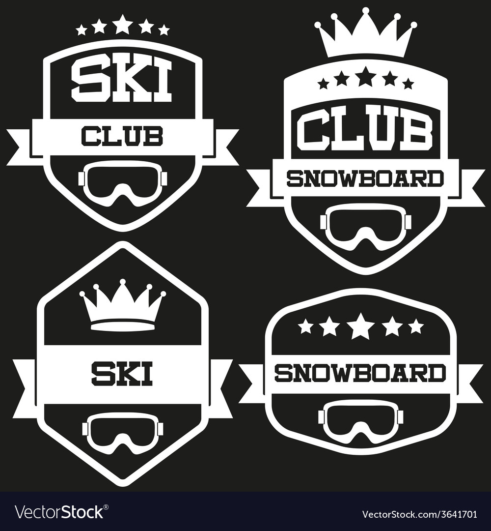 Set of vintage ski and snowboard club badge label vector