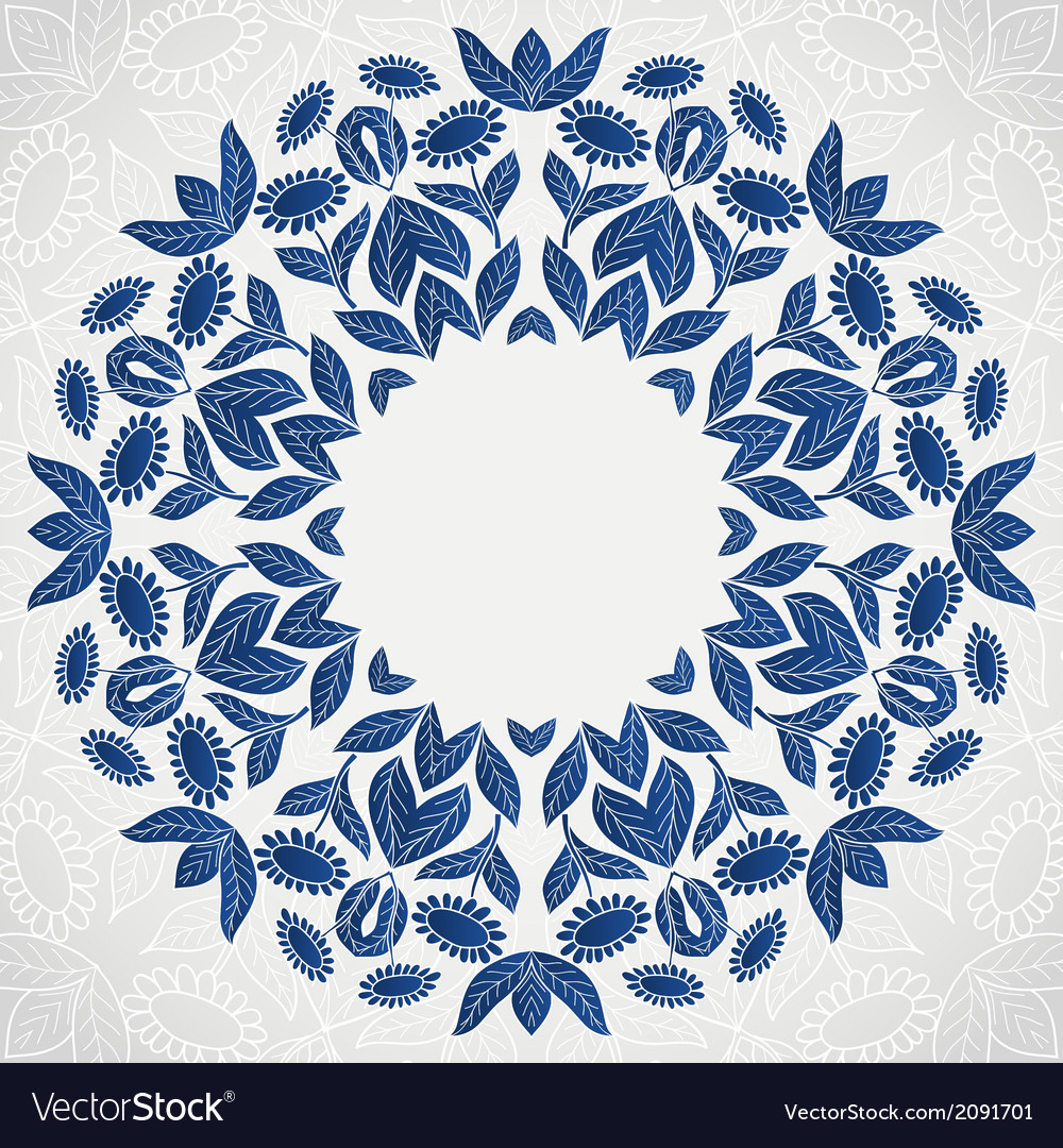 Traditional blue round sunflowers pattern frame vector