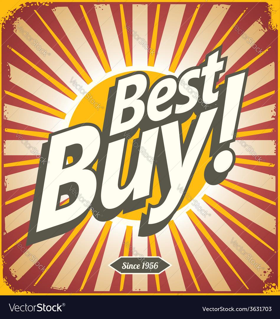 Best buy retro sign template vector