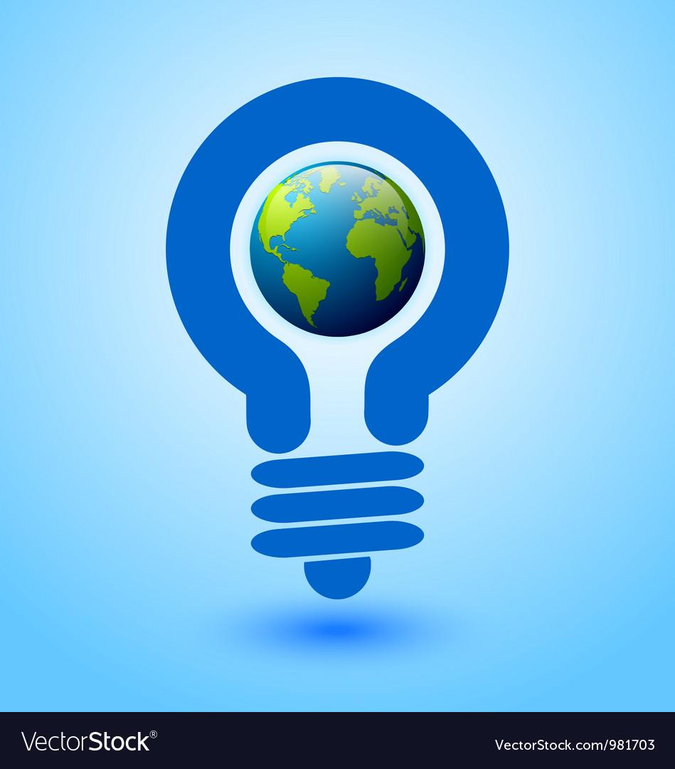Lightbulb earth vector