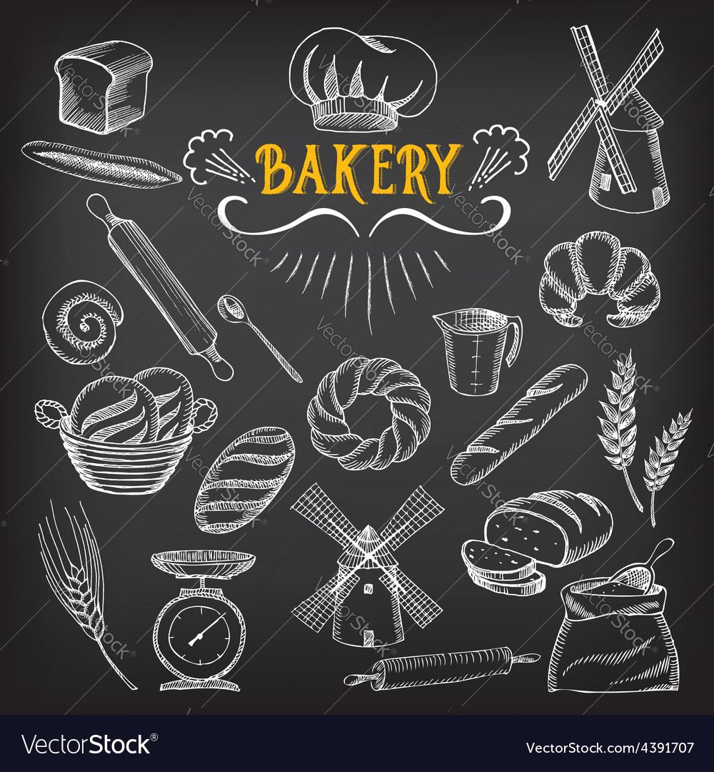 Bread and bakery design sketch doodle vector