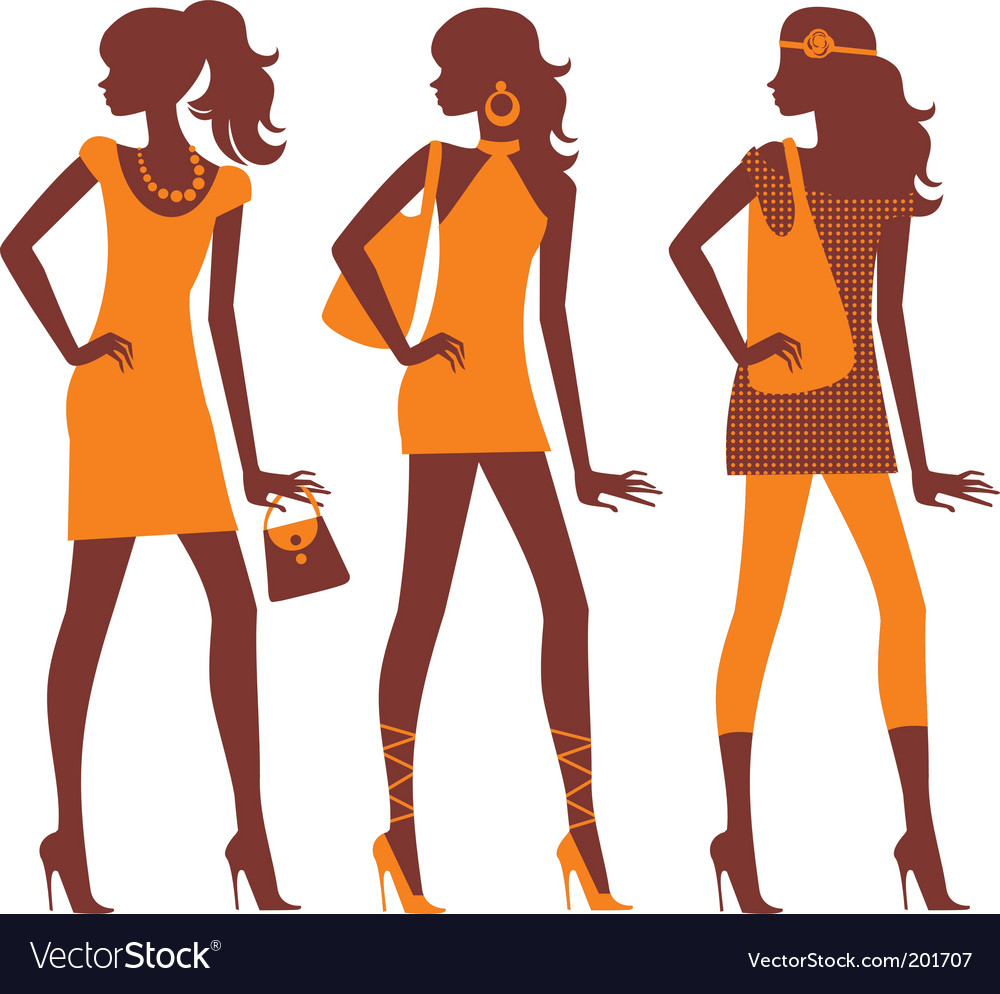 Fashion model silhouettes vector
