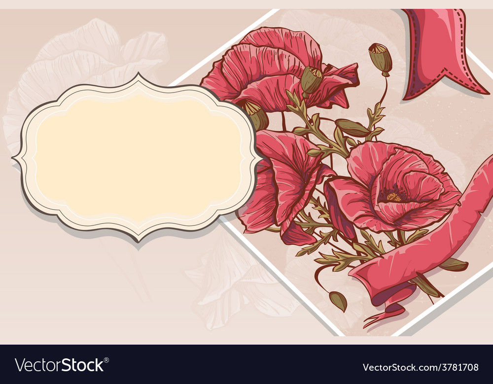 Invitation greeting card with red poppies vector