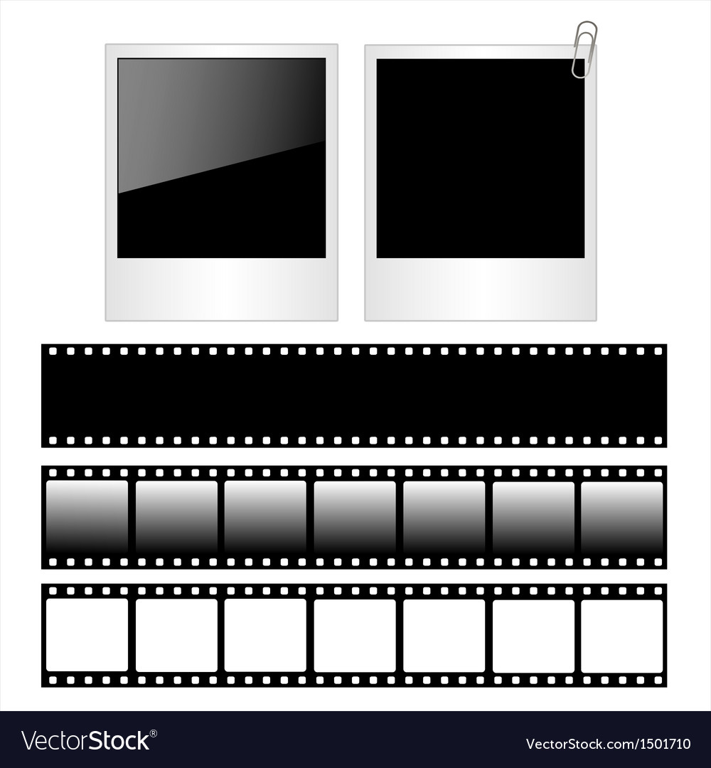Set of polaroid photo frames and film strips vector